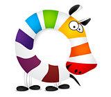 Number zero. Made of colorful animal cartoon rainbow zebra. Vector