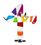 Number four. Made of colorful animal cartoon rainbow zebra. Vector