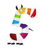 Number five. Made of colorful animal cartoon rainbow zebra. Vector