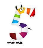 Number five. Made of colorful animal cartoon rainbow zebra. Vector