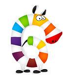 Number six. Made of colorful animal cartoon rainbow zebra. Vector