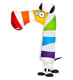 Number seven. Made of colorful animal cartoon rainbow zebra. Vector