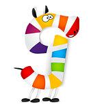 Number nine. Made of colorful animal cartoon rainbow zebra. Vector