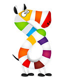 Number eight. Made of colorful animal cartoon rainbow zebra. Vector
