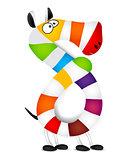 Number eight. Made of colorful animal cartoon rainbow zebra. Vector