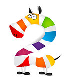 Number two. Made of colorful animal cartoon rainbow zebra. Vector