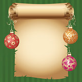 Medieval scroll paper and different vintage gold design Christmas balls on bright ribbon. Vector New Year greeting card
