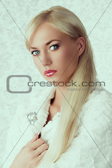 blonde girl in winter fur coat