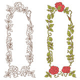 Elegant vintage frame with roses and leaves elements. Vector decorative border