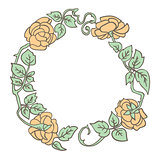 Elegant vintage round frame with roses and leaves elements. Vector decorative border