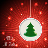 Christmas greeting card with bursting snowflakes and green chris
