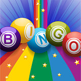 Bingo balls on rainbow over blue background