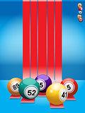 Bingo balls over red stripes