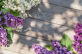 Colorful lilac flowers on garden table