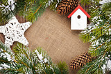 Christmas decor and snow fir tree background