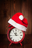 Christmas alarm clock with santa hat