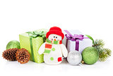 Christmas decor and snowman toy