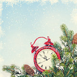 Christmas background with clock and branch