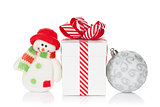 Christmas gift box, bauble and snowman toy