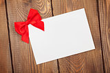 Valentines day greeting card with red bow
