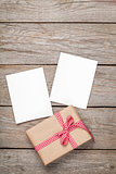 Photo frame cards and gift box with ribbon