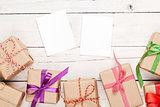 Photo frames and gift boxes with ribbons