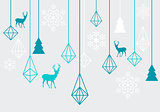 Geometric Christmas ornaments, vector
