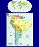 World and South America political maps