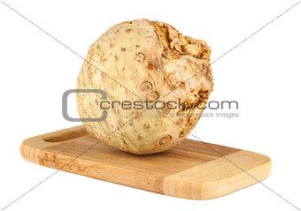 Celery root on chopping board