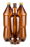 Three brown empty plastic bottles