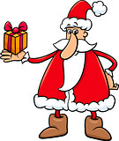 santa with gift cartoon