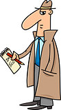 detective or journalist cartoon illustration
