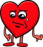 sad heart cartoon character