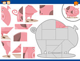 cartoon pig jigsaw puzzle task