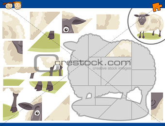 cartoon sheep jigsaw puzzle task