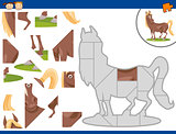 cartoon horse jigsaw puzzle task