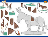 cartoon donkey jigsaw puzzle task