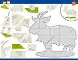 cartoon goat jigsaw puzzle task