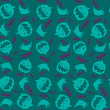 Seamless pattern. Pumpkins, bats and ghosts.
