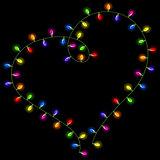 Christmas lights shaped heart