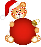 Christmas teddy bear with glass ball