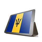 Tablet with Barbados flag