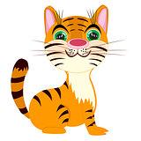 Striped tigress on white background