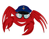 Cartoon of the crab in service cap and spectacles