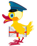 Duckling postman with envelope
