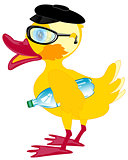 Duckling bespectacled and cap