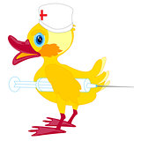 Duckling doctor with syringe