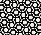 Vector Seamless Black And White Hexagon Circle Rounded Pattern