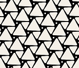 Vector Seamless Black And White Rounded Triangle Pattern