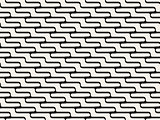Vector Seamless Black And White  ZigZag Rounded Lines Pattern